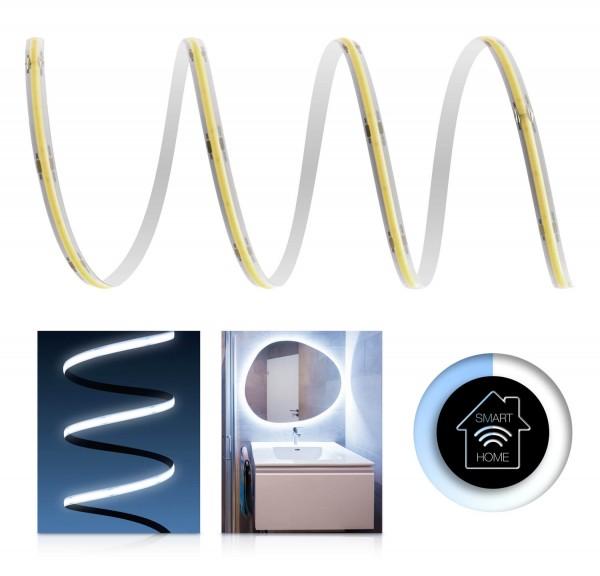 24V COB LED Streifen Smart Home Set | IP65 | kaltweiß | inkl Zigbee Controller & Netzteil | 1-7m