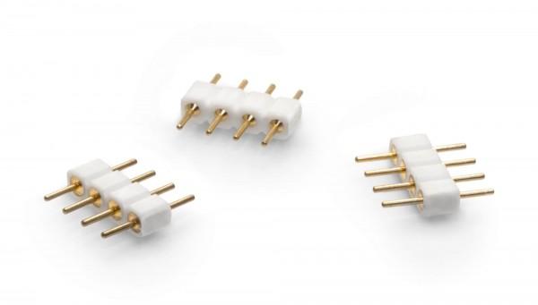 5er Set: 4 poliger PIN Lötstift Verbinder Stecker Kupplung für RGB LED Streifen