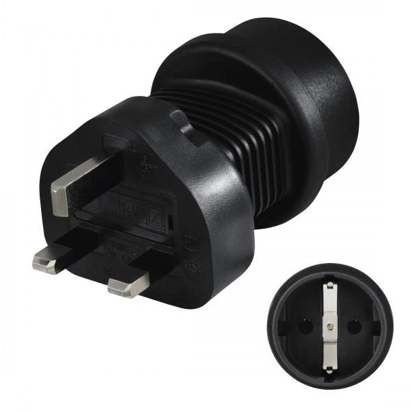 Hama Reisestecker Typ G 00108881 UK => Schutzkontakt-Stecker, schwarz