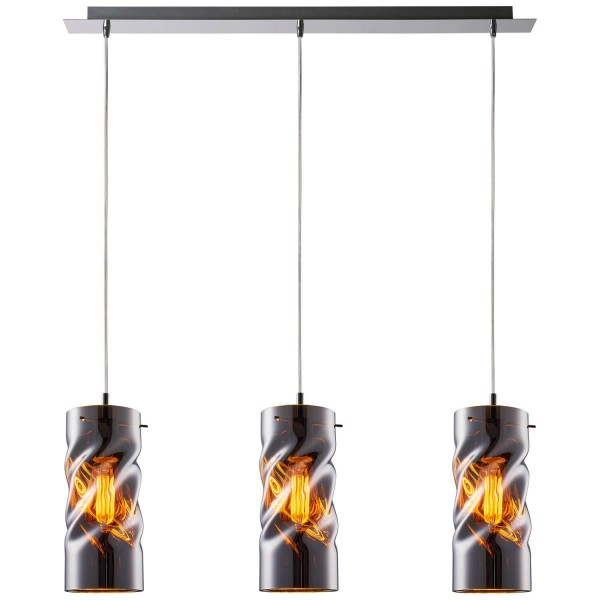 Living 99291/15 Curly Pendelleuchte, 3-flammig Glas/Metall chrom