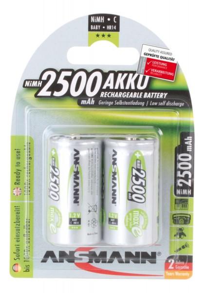 Ansmann 2er NiMH Hochleistungsakku Batterie LSD Baby Typ C 2500mAh oder 4500mAh 1,2V maxE wiederaufl
