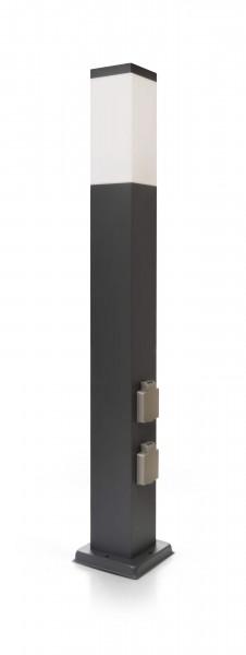 LED Wegeleuchte mit 2 Steckdosen anthrazit