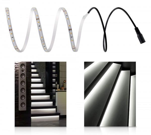 LED 12V Comfort Treppenbeleuchtung mit Netzteil neutralweiß 1-15 Stufen