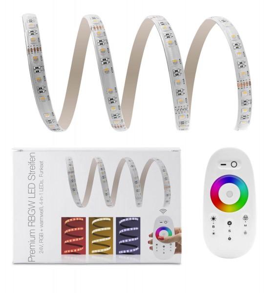 24V LED Streifen Set | RGBW 4-in-1 | Trafo und Fernbedienung | 1 bis 7m wählbar | IP65
