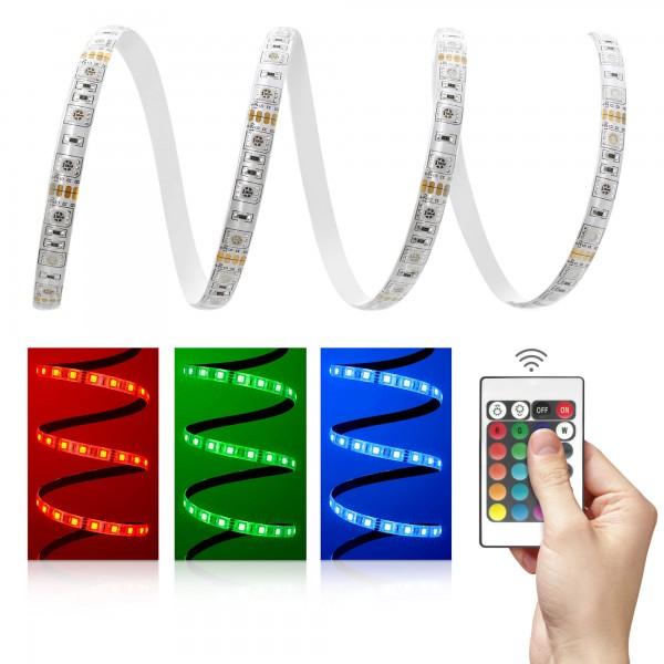 12V LED Streifen Set | RGB | Trafo und Fernbedienung | 1 bis 5m wählbar | IP65