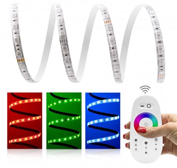 24V LED Streifen Set | RGB | Trafo und Fernbedienung | 1 bis 15m wählbar | IP65